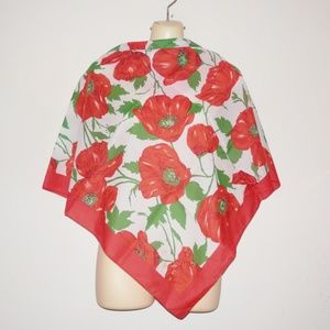 Vintage Liz Sinclair Red Floral Scarf Italy E560